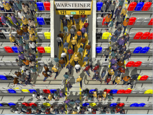 Fundamental Diagram Adherent Interactive Crowd Simulation using Density-Dependent Filters